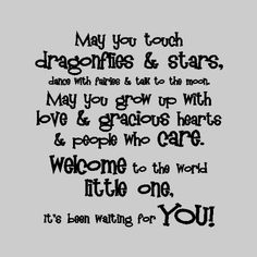 Nursery Wall Quotes - May you touch dragonflies and stars, dance with fairies and talk to the moon