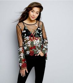 Black Floral Embroidered Mesh Flared Sleeve Top   New Look