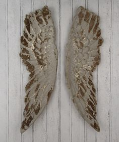 Pacific Lifestyle Poly Resin Angel Wings Wall Art, Distressed Grey, 210 x 1130 x 470 mm