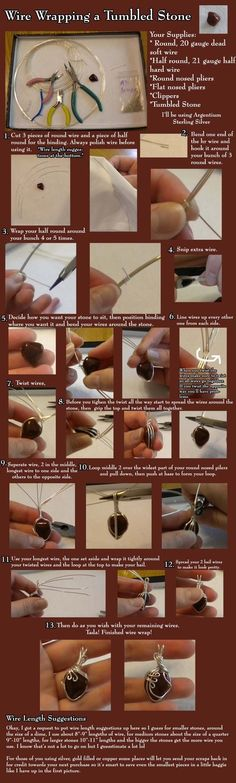 Wire wrapping stones etc - tutorial pics by MarylinJ- nice simple one for odd objects