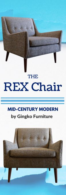 The REX Chair, Gingko Furniture's newest addition to our Mid-century Modern lineup.  New available for immediate delivery in several fabric options!  Visiit Gingko Mountain View or Gingko SF showroom today.