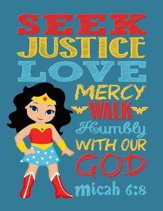 Superhero Wall Art Print - Wonder Woman Inspired Christian Nursery Decor - Seek Justice Love Mercy Walk Humbly with our God - Micah Bible Verse - visit to grab an unforgettable cool Super Hero T-Shirt! Hero Central Vbs, Superhero Wall Art, Superhero Classroom, Superhero Kids, School Classroom, Comic Style Art, Kids Church, Church Ideas, Wonder Woman