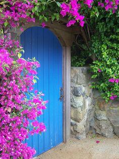 Linda porta cercada por um muro de pedras e enfeitado por uma maravilhosa Bougainvillea.  Fotografia: Anjle no Flickr.  http://www.cubebreaker.com/beautiful-doors-entryways/