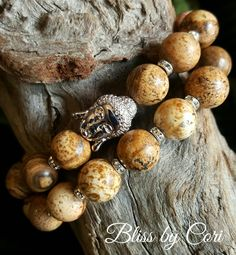 "Picture Jasper Beaded Stretch Bracelet Duo with Micro Pave ""Buddha"" Bead  *FREE SHIPPING* by BlissbyCori on Etsy"