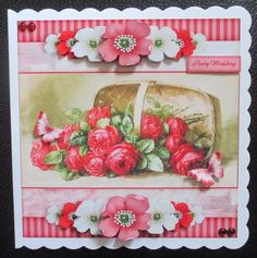 Vintage Stripes and Flowers red 1209 by Davina Rundle