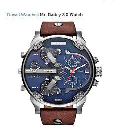 Diesel Blue Men's Brown Leather  Mr.Daddy 2.0 Multi-Movement Watch