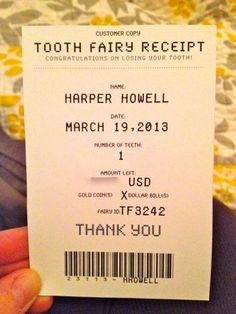 """Tooth fairy """"receipt"""""""