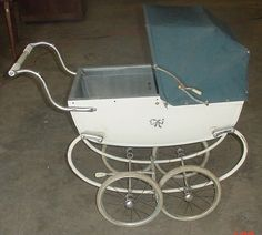 Vintage Silver Cross Baby Stroller Tin Pram Buggy Great for your Doll