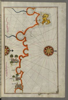 Illuminated Manuscript, Map of the coast of Tripoli (Ṭarābulus) (Libya) from Book on Navigation, Walters Art Museum Ms. W.658, fol.286b