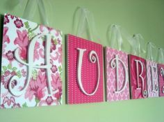 Bedroom, Cute baby nursery name letters for girl pink wooden hanging wall art decor nursery decoration for lime green paint wall accent floral pattern and damask name letters background white rainbow hangers: Baby Room Name Letters Ideas