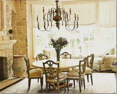 Kate Stassi - Dining/Family Room - 19th century Italian chairs + Empire table + Italian chandelier