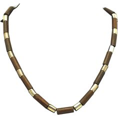 """William Spratling Taxco Mexico Rosewood Silver Tube Necklace 18 1/2"""" Book Piece Unisex"""