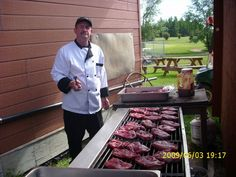 Cooking rib eye at High Prairie Golf Coarse