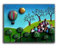 Pebble Art, Boats, Scenery, Houses, Lights, Rock, Landscape, Country, Frame
