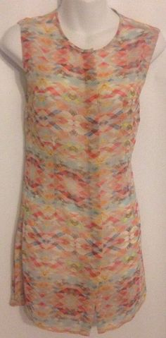 CAbi Size Small Avery Tunic Button Front Tribal Print Colors Polyester NWT $79 #CAbi #Tunic #Casual