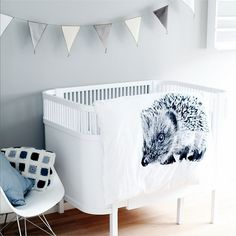 A minimal black, white and grey baby nursery - Scandinavian style kids room