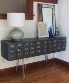 Card catalog turned buffet/side table AND painted with chalkboard paint.  I'm a huge fan of using hairpin legs because they are easy to install, sturdy and modern.