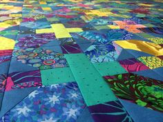 plus and x quilt top, kaffe fassett, esudio shot cottons, and other fabrics. feb 2015, by kerstin