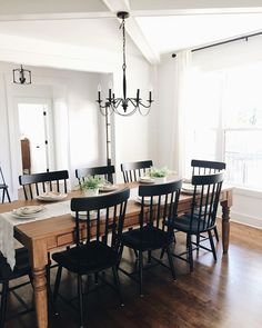 Farmhouse Dining Room - style typically appears with its distinctive huge table. People wouldn't have difficulties to tell what kind of dining room that is Dining Room Decor Dining Room Walls, Dining Room Design, Dining Room Furniture, Black Dining Room Chairs, Black Kitchen Tables, Office Chairs, Kitchen Table Light, Formal Dining Rooms, Eat In Kitchen Table