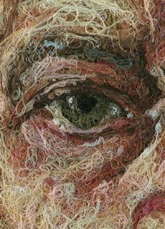 Cotton thread on wood panel by Mondongo, 2006.