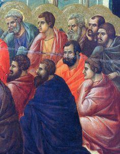 Christ preaches the Apostles (Fragment) via Duccio di Buoninsegna Medium: wood, tempera