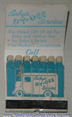 Baby's DY Dee Diaper Service Feature Matchbook Delivery Truck Lion Match Co | eBay