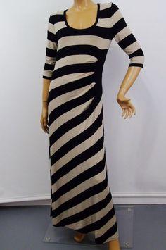 bf9e57894fc Calvin Klein Asymmetrical Stripe Black Tan Maxi Dress Gathered Waist Sz 12   CalvinKlein  Sheath