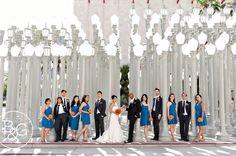 Wedding party portraits at LACMA Street Lights installation.