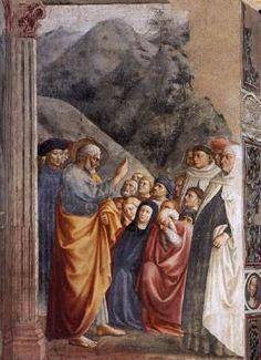 St. Peter Preaching - Masolino. 1426-27. Fresco. Brancacci Chapel, Santa Maria del Carmine, Florence, Italy.