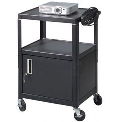 Offex Mobile Stand Up Heavy Duty Presentation Av Cart With Lockable Storage Cabinet Shelf And Casters Black Furniture Stands Mounts Pinterest