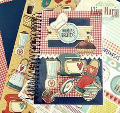 Livro de Receitas com Scrapbook Scrapbook Recipe Book, Mini Scrapbook Albums, Scrapbook Pages, Scrapbooking, Vinyl Projects, Craft Projects, Homemade Recipe Books, Cricut Cards, Pop Up Cards