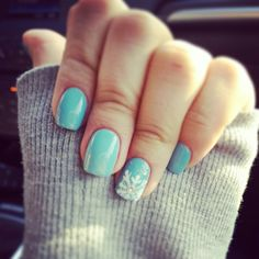 OPI Light Blue Snowflake Nails  Gel Color | OPI | Winter Nails | Nail Art | Light Blue | Bright | Christmas |