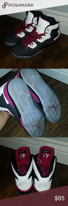 Nike Jordan's Dark grey, light grey, and magenta Jordan's. They're kids size 7.5 which is 9.5 womens. I don't have the box, but they're hardly worn and in really great condition Jordan Shoes Sneakers
