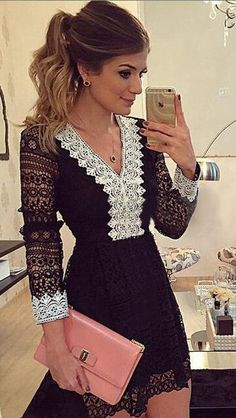 This black short lace dress with v-neck and hollow out sleeves is so fashion and sexy, it's suit for cocktail party and even evening party.