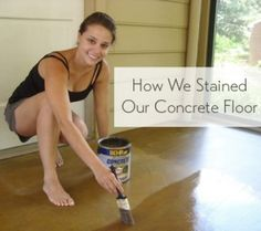 how to stain a concrete floor in a sunroom using Behr concrete stain and a paintbrush