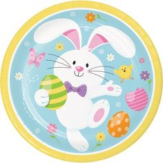 The Holiday Aisle The charm of Easter hops to life when you use this Bunny Paper Disposable Dessert Plate at your egg-hunt picnic. The sturdy paper plate features a happy cartoon Easter bunny collecting eggs surrounded by flowers and butterflies. Bunny Party, Easter Party, Easter Activities, Easter Crafts For Kids, Sticker Printable, Happy Cartoon, Cartoon Art, Easter Nails, Easter Printables