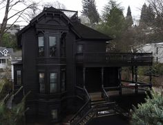 Grey Painted Rooms, Black House Exterior, Gothic House, Victorian Homes, Victorian Gothic, Exterior Design, Future House, Villa, House Design