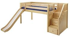 Maxtrix Low Loft Bed w/Staircase on End & Slide