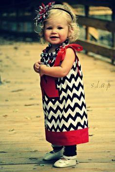 Black & White Chevron Nebraska Husker pillowcase dress & accessories by Fit For A Princess.