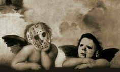 Jason Vorhees and Michael Myers Horror Icons, Horror Films, Horror Art, Horror Villains, Halloween Horror, Halloween Fun, Creepy, Scary, Dark Wings