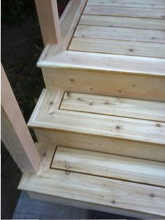 Finished cedar deck and stairs.