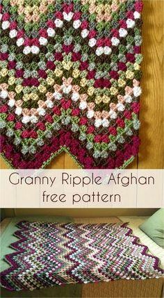 41 Ideas Crochet Granny Square Blanket Ripple Afghan Free Pattern For 2019 Granny Square Crochet Pattern, Crochet Squares, Crochet Granny, Easy Crochet, Crochet Hooks, Free Crochet, Crochet Afghans, Crochet Ripple Afghan, Afghan Crochet Patterns