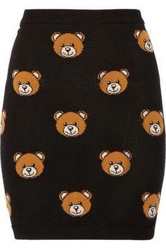 Need  Bear-intarsia wool mini skirt #skirt #women #covetme #moschino