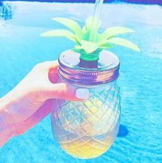 Iridescent Pineapple Jar Sipper