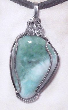 Dolphin Dreaming   Larimar Wire Art Amulet Pendant in Sterling Silver | sagegarden - Jewelry on ArtFire