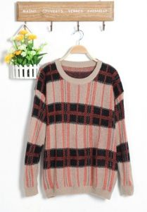 J9840 Korean Fashion Grid Pullover Sweater