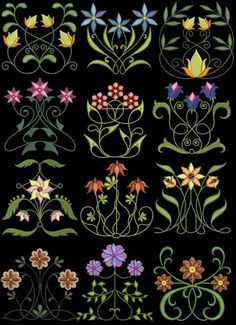 Exotic Art Nouveau 1 Floral Machine Embroidery Designs 4x4 CD Brother Janome | eBay