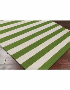 Frontier Striped Flat Weave Rug in Apple Green