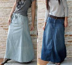 Saias jeans longas moda evangelica