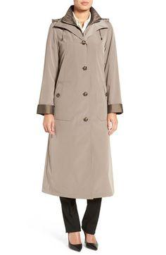 Main Image - Gallery Full Length Two-Tone Silk Look Raincoat